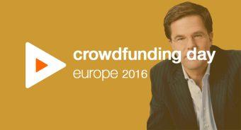 Rutte spreekt crowdfunders tijdens Crowdfunding Day